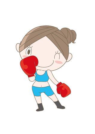 Boxercise pose - Woman enjoying fitness