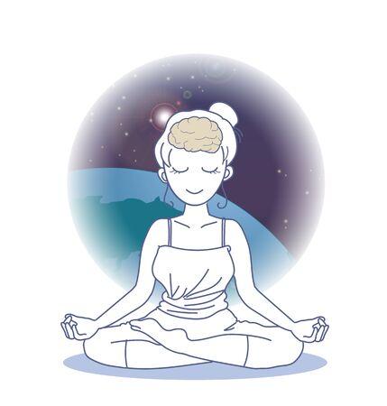 Image of meditation connected to the universe Ilustração