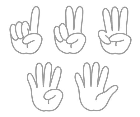 Hand gesture, number - sign set