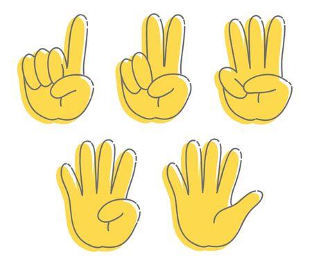 Hand gesture, number - icon set Ilustração