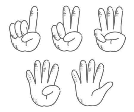 Hand gesture, number - sign set (Retro touch)