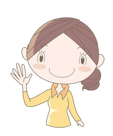 International Sign Language, Number Five (Woman)  イラスト・ベクター素材