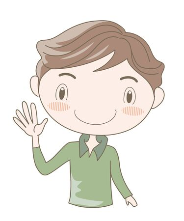 International Sign Language, Number Five (Man)  イラスト・ベクター素材