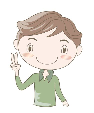 International Sign Language, Number two (Man)  イラスト・ベクター素材