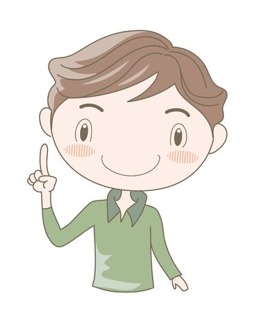 International Sign Language, Number One (Man)  イラスト・ベクター素材