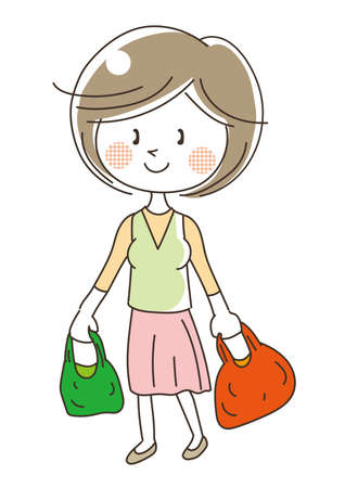 Woman shopping with reusable bag  イラスト・ベクター素材