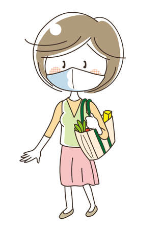Woman shopping with reusable bag (wearing a mask)  イラスト・ベクター素材