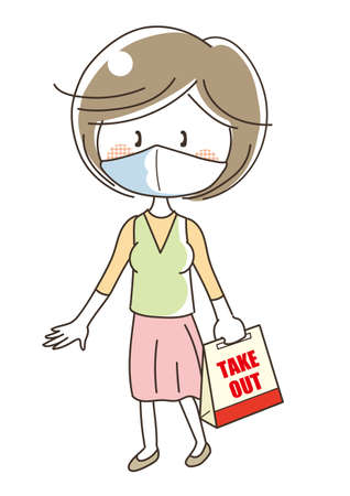 Takeout food image - woman on mask  イラスト・ベクター素材