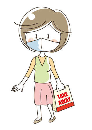 Takeaway food image - woman on mask  イラスト・ベクター素材