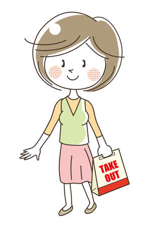 Takeout food image - woman Ilustração