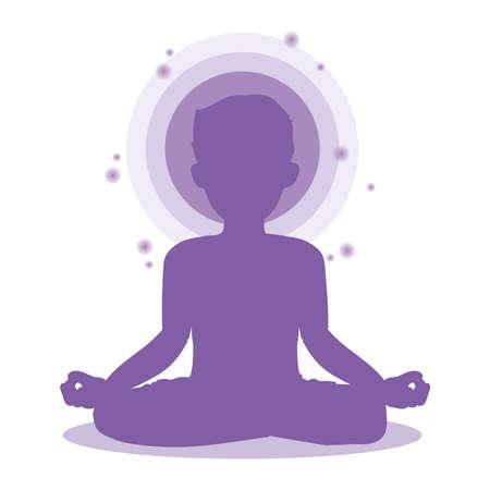 Man who meditate - Yoga pose image Banco de Imagens - 150927994