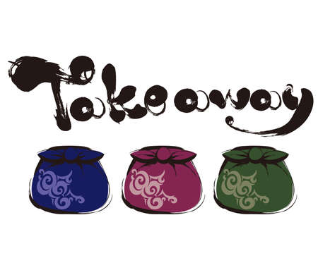 Takeaway furoshiki image, Calligraphy writing