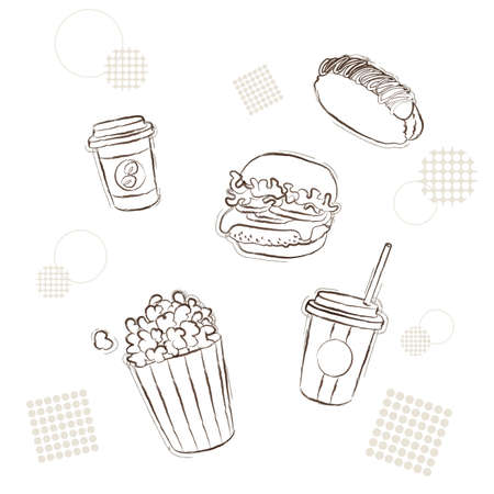 Snacks and junk food set (Doodle type)