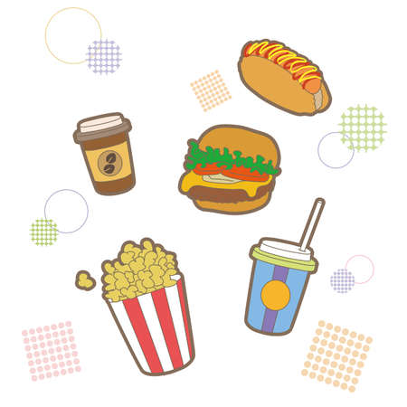 Snacks and junk food set (pop type)