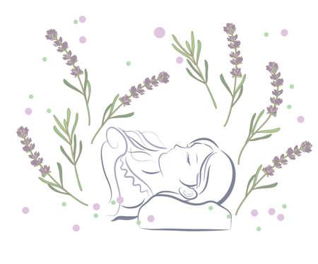 A woman who sleeps comfortably Vektoros illusztráció