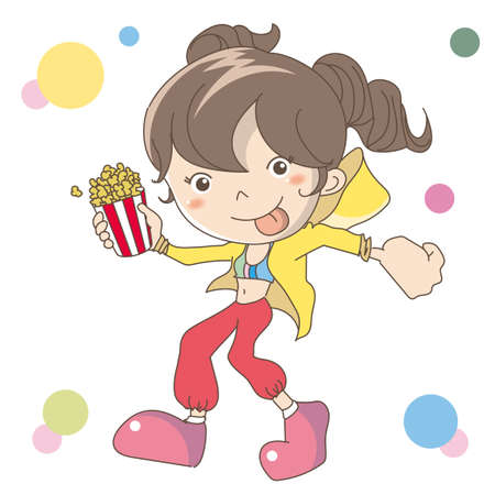 The woman holding popcorn in hand Banco de Imagens - 152510522