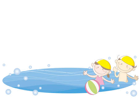 Cool summer sea frame - Children playing with a ball Ilustração
