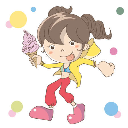 The woman holding soft serve ice cream in hand Ilustração