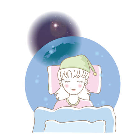 A woman who sleeps comfortably - Outer space background