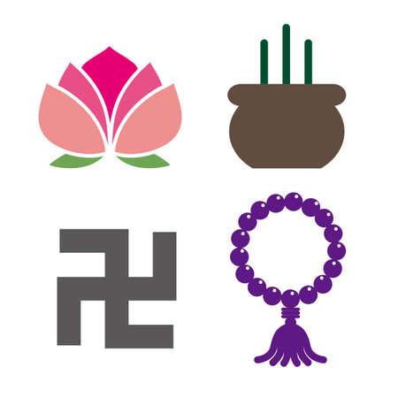 Buddhist symbol image - Vector icon set