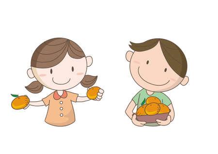 Orange picking image - Children who seem to have fun