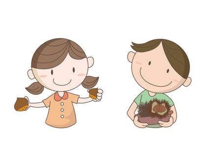 Chestnut picking image - Children who seem to have fun