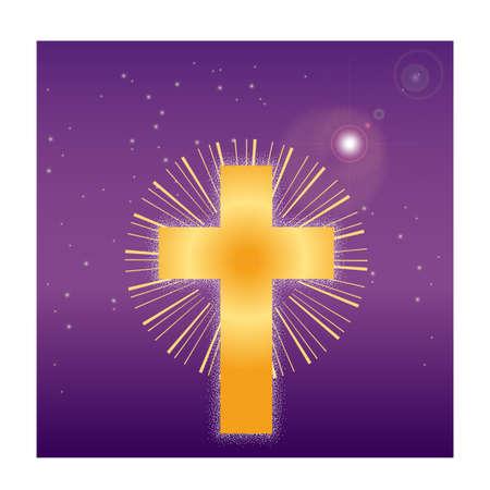 Golden cross floating in space