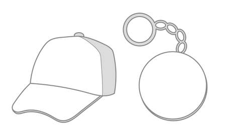 Plain Hat and keychain template - for marketing and planning, design Vettoriali