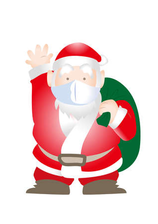 Santa Claus with mask - COVID-19 prevention type Vettoriali