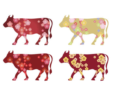 Cow design set - 4 type / 2021 New Year's card zodiac material