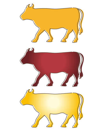 Cow design set - 3 type / 2021 New Year's card zodiac material Vettoriali