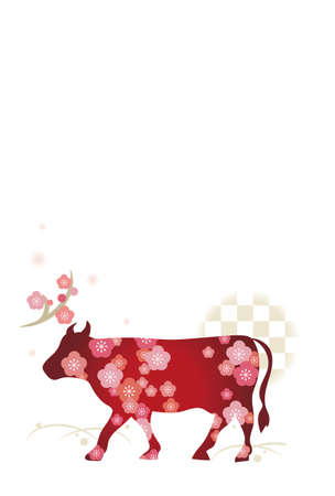 2021 New Year's card template vertical type - Zodiac cow design