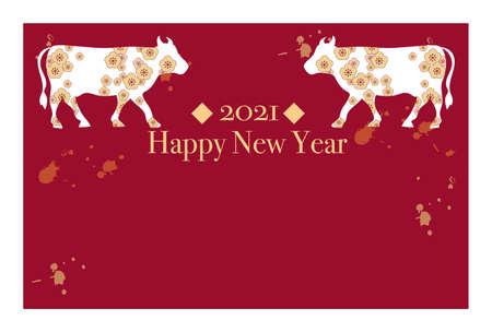 2021 New Year's card template horizontal type -Zodiac cow design Vettoriali