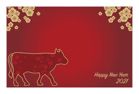 2021 New Year's card template horizontal type -Zodiac cow design