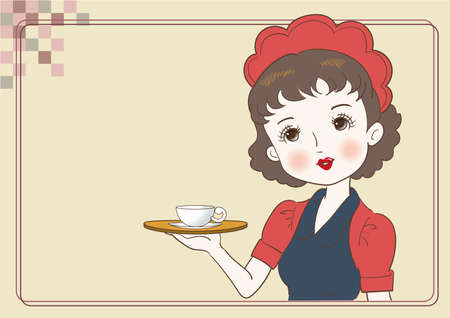 Antique waitress carrying a cafe - Retro cafe image