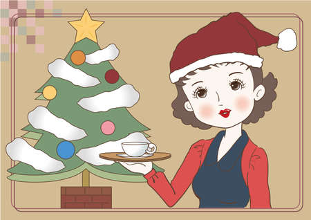 Santa Claus-style waitress carrying a cafe - Retro cafe image Vettoriali