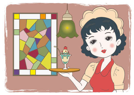 Waitress carrying a parfait in a retro cafe - Stained glass window background Vettoriali
