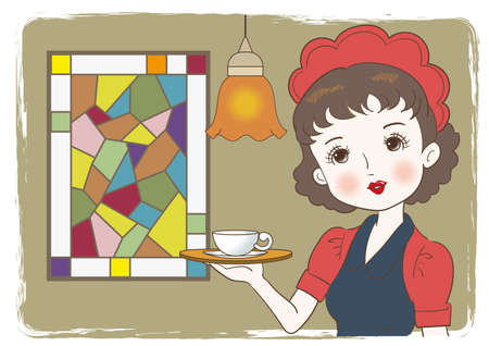 Waitress carrying a coffee in a retro cafe - Stained glass window background Vettoriali