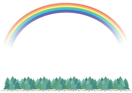 Forest with rainbow background (transparent background)
