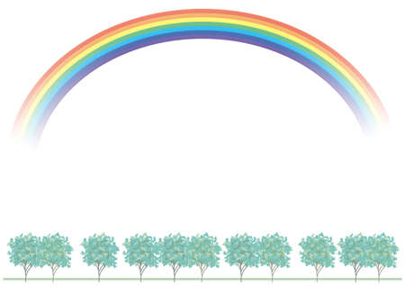 Tree-lined with rainbow background (transparent background)