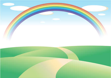 Field and road with rainbow background (transparent background)