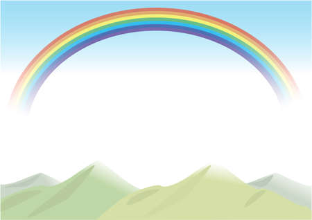 Mountain with rainbow background (transparent background)