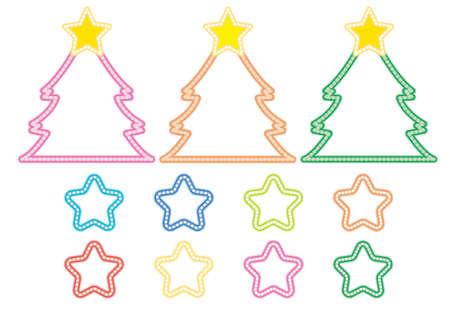 Illumination Christmas tree - colorful image vector set
