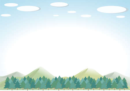 Forest and mountain landscape image. The white part of the background is transparent.