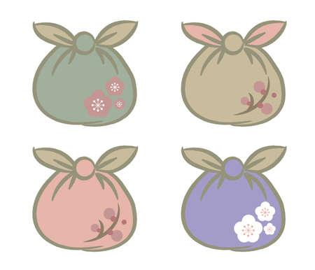Japanese style furoshiki set  for Takeaway - Round type with pattern