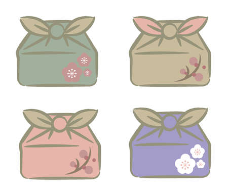 Japanese style furoshiki set  for Takeaway - Square type with pattern