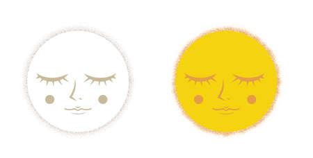 Cute face moon - Drawing dots Image
