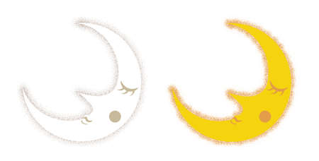 Cute face crescent Moon - Drawing dots Image