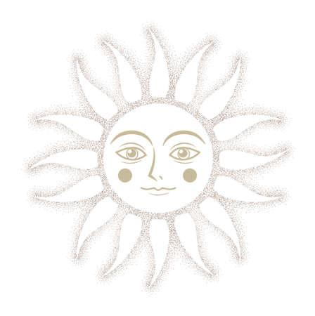 Cute face sun - Drawing dots Image