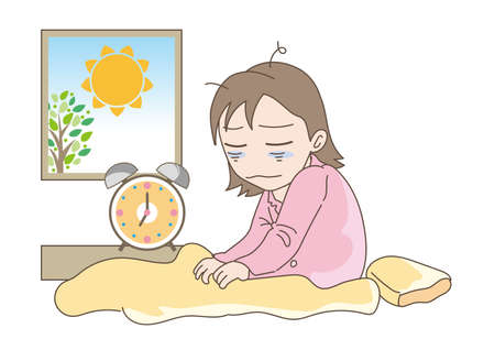 A woman who cannot get up due to lack of sleep